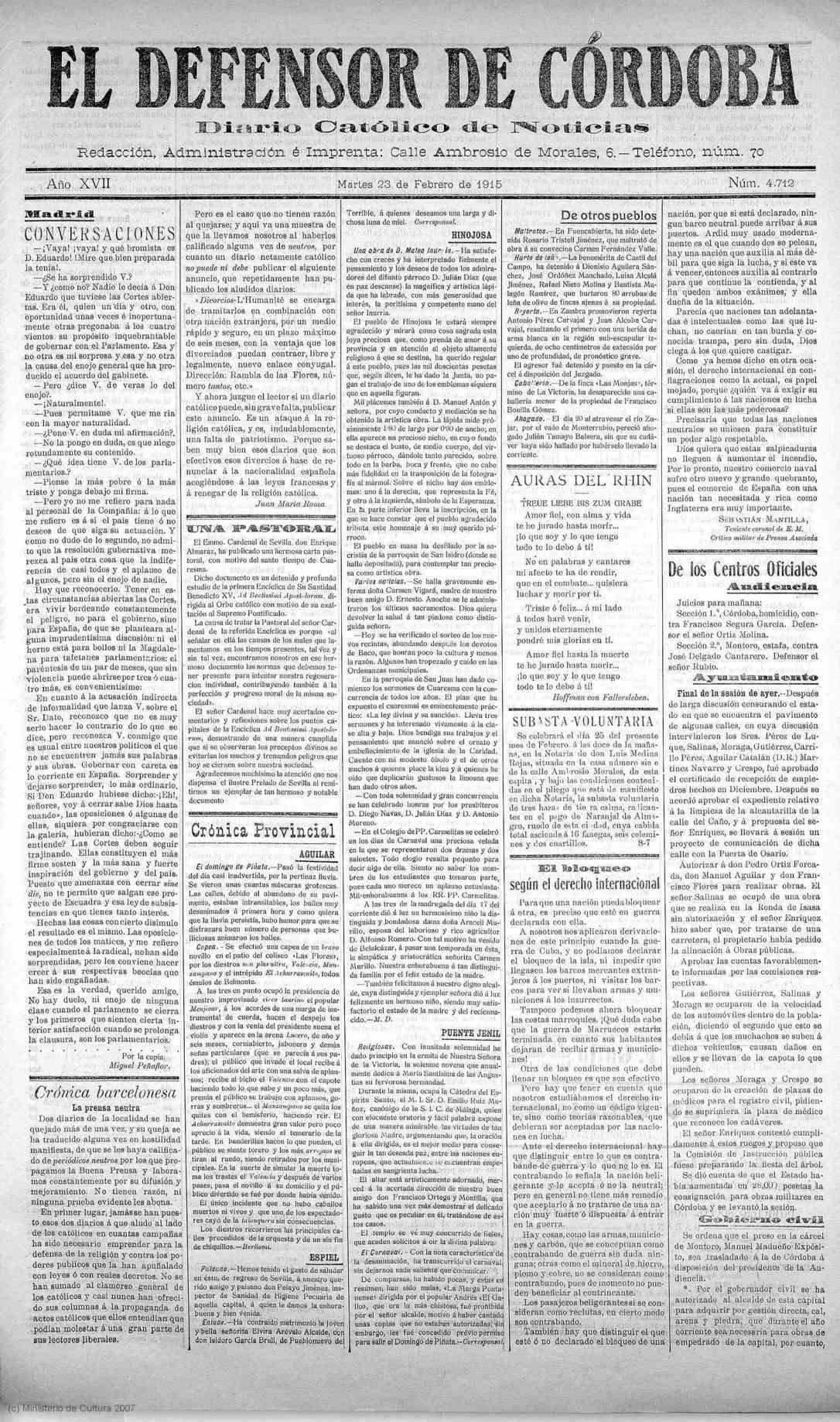 EL DEFENSOR DE CÓRDOBA, 23.02.1915. Pag.1. HINOJOSA DEL DUQUE